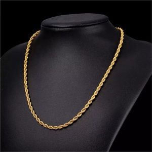 New 18k gold plated rope chain